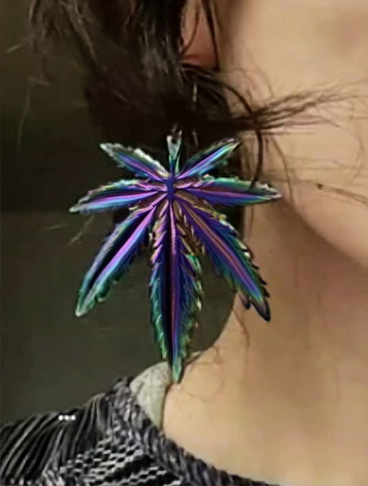 JUST GET HIGH_ionized earring leaf_web 1