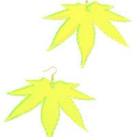 EARRINGS: ACRYLIC LARGE LEAF EARRINGS