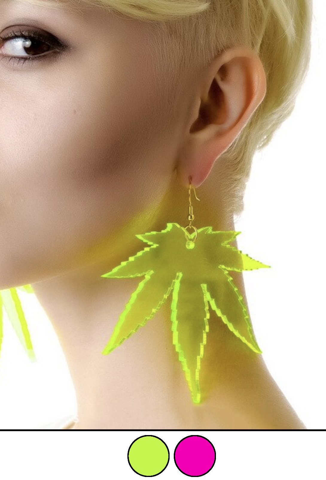 JUST GET HIGH_clear leaf acrylic earrings_model_a
