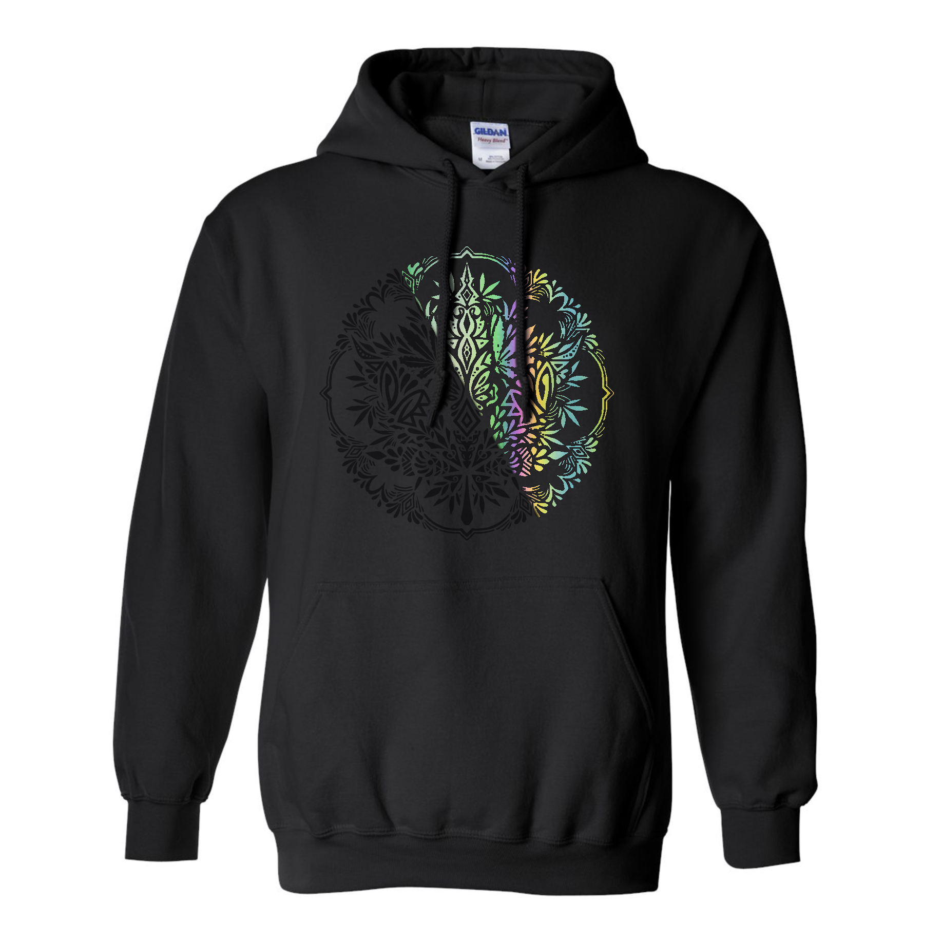 just get high_filagree leaf_black on black chameleon_rainbow reflective