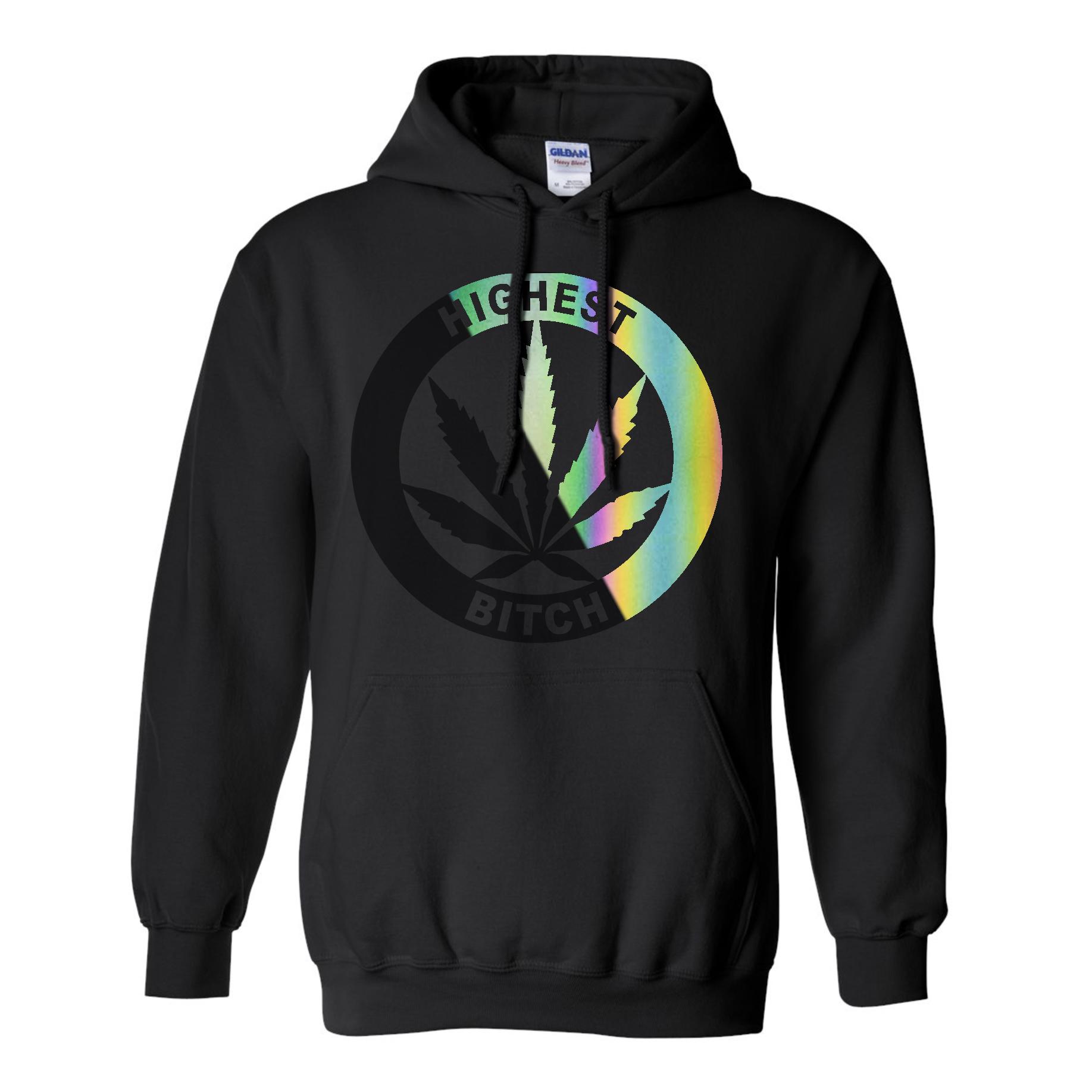 just get high_highest bitch logo_black on black chameleon_rainbow reflective