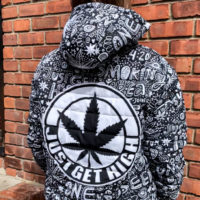 UNISEX QUILTED BOMBER JACKET: JUST GET HIGH™ • GRAFFITI