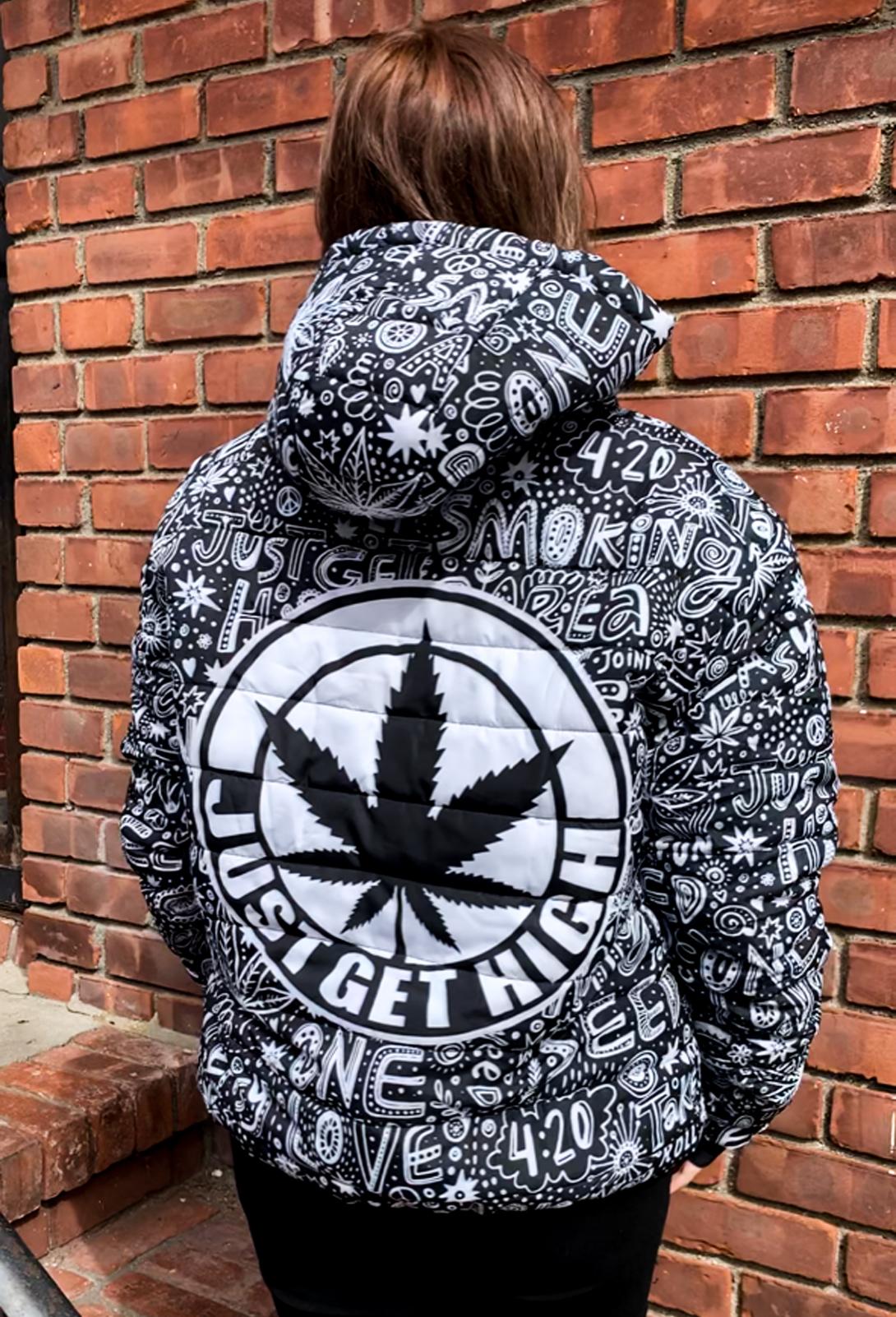 just get high_graffiti bomber jacket_unisex