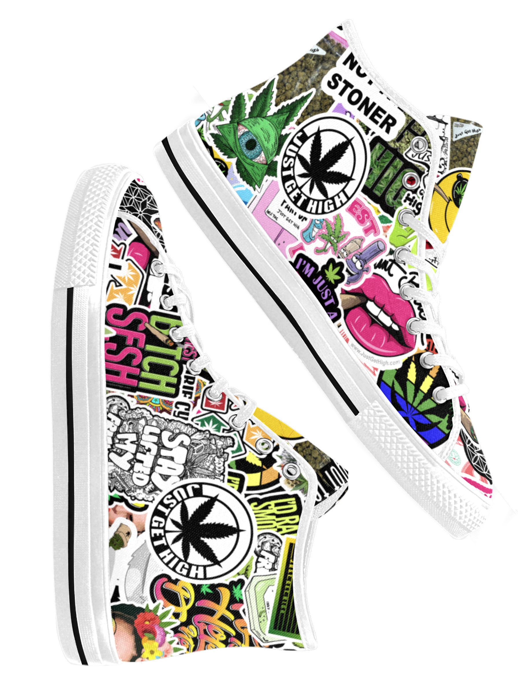 just get high_hightops_JGH tossed stickers_white